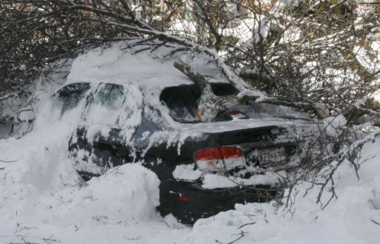 junk car in snow